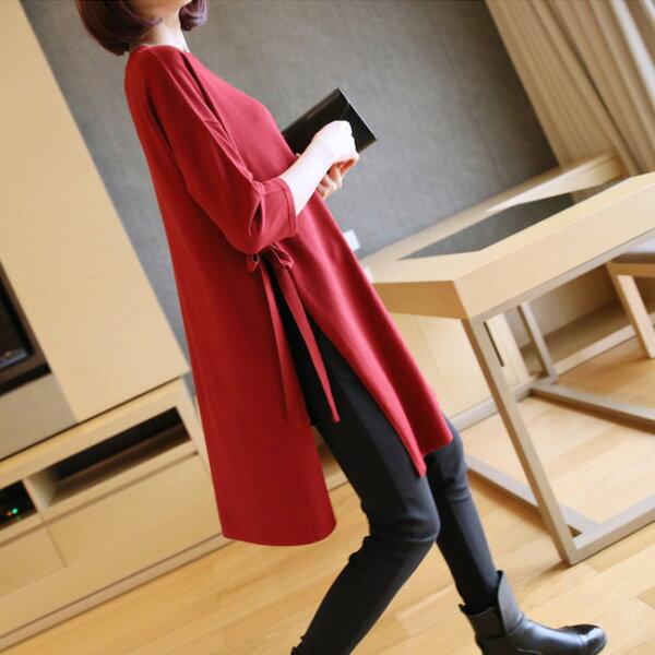 高品質繫帶開叉針織衫毛衣長版上衣韓版【32-24-88-0063-18】ibella艾貝拉