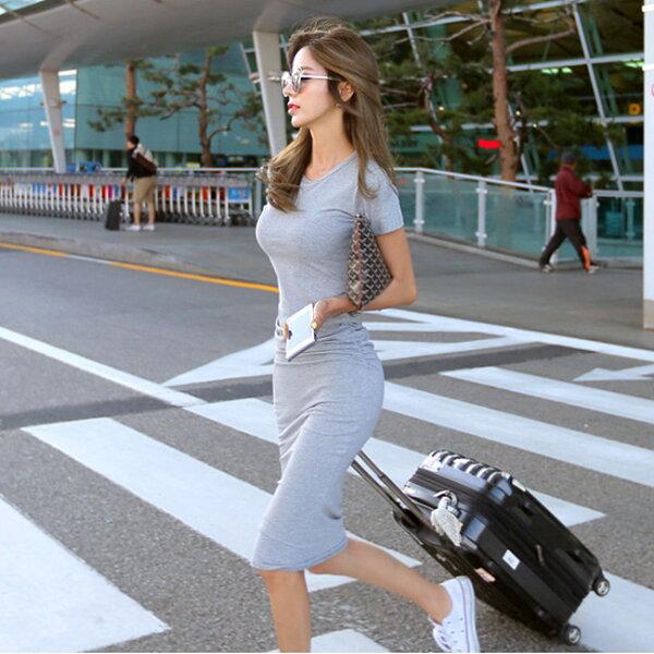 縮腰車縐彈力貼身洋裝連身裙韓【33-16-87749-18】ibella艾貝拉