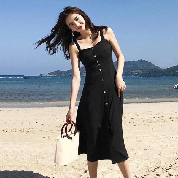A字大裙襬吊帶裙洋裝連身裙韓【33-16-89836-18】ibella艾貝拉