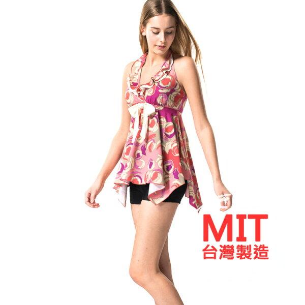 MIT荷葉領傘狀泳衣短褲兩件式泳裝(附帽) 預購【36-66-817112】ibella 艾貝拉