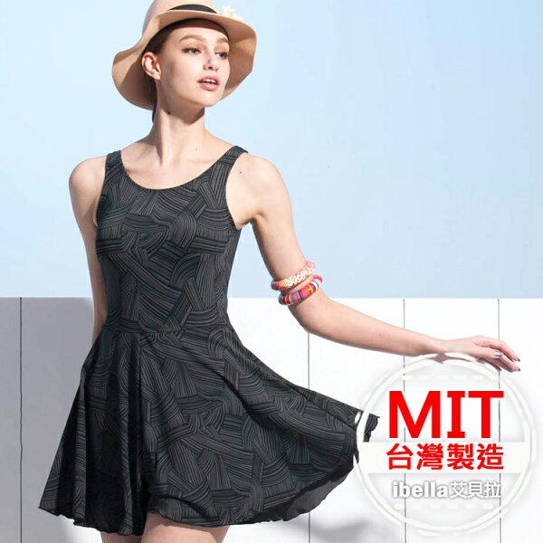 連身泳裝MIT台灣製造幾何連身褲裙泳衣(附帽)【36-66-818127-18】ibella艾貝拉