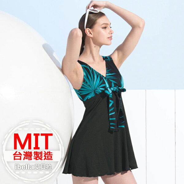 連身泳裝MIT台灣製造黑色五角褲洋裝泳衣(附帽)【36-66-818128-18】ibella艾貝拉