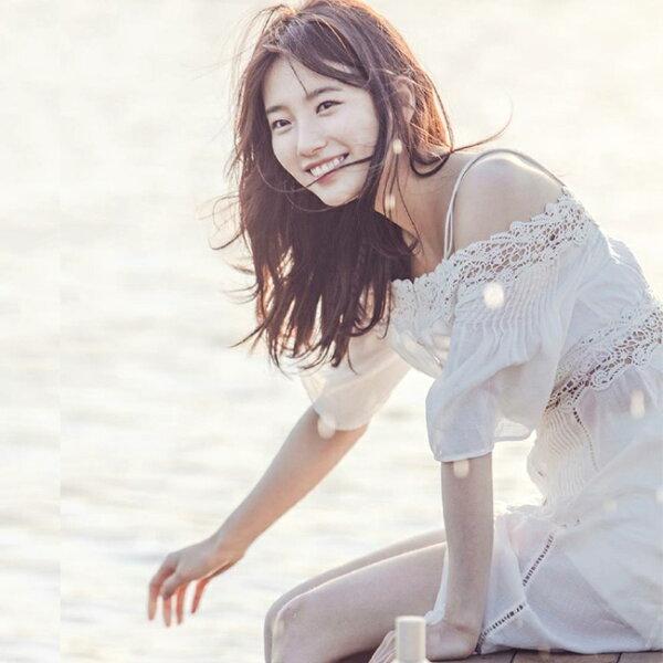 刺繡蕾絲花邊吊帶一字領洋裝連身裙沙灘裙【39-16-85506-18】ibella艾貝拉