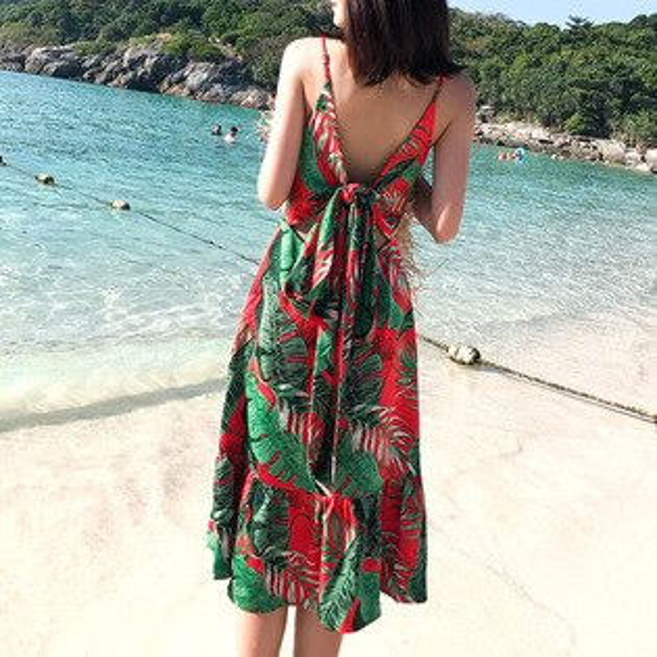 渡假風後綁帶露背洋裝連身裙長裙沙灘裙【39-16-85510-18】ibella艾貝拉