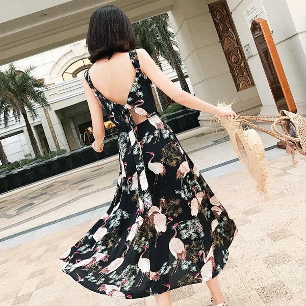 渡假風后綁帶洋裝連身裙沙灘裙【39-16-85511-18】ibella艾貝拉