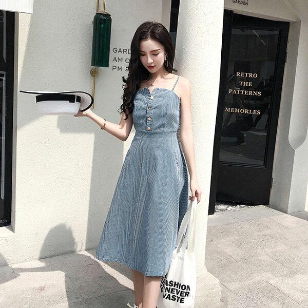 條紋牛仔裙長洋裝連身裙吊帶裙韓版【47-16-83348-18】ibella艾貝拉