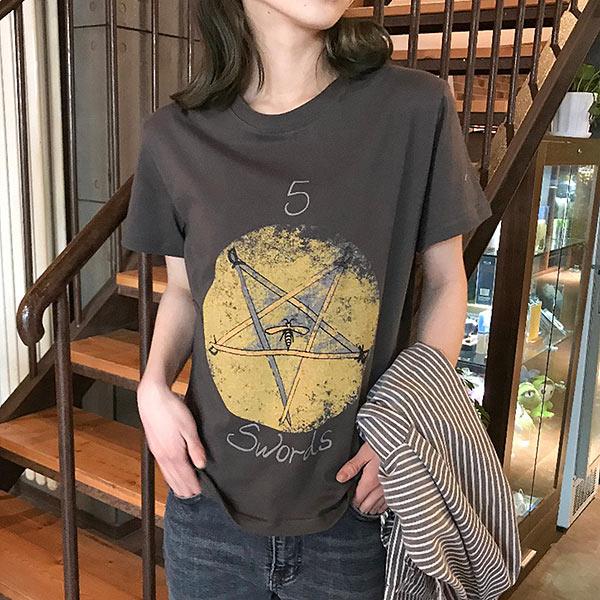 塔羅牌水洗短袖上衣T恤【63-11-820572-18】ibella艾貝拉