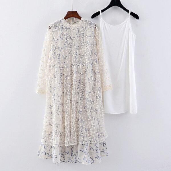 二件式套裝雪紡碎花洋裝蕾絲長洋裝小禮服【63-16-83451-18】ibella艾貝拉