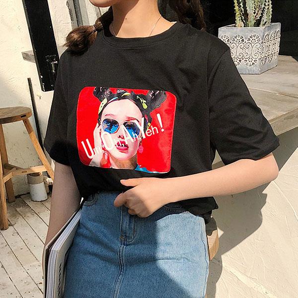 時尚女孩印花短袖上衣T恤韓版【67-11-8031-18】ibella艾貝拉