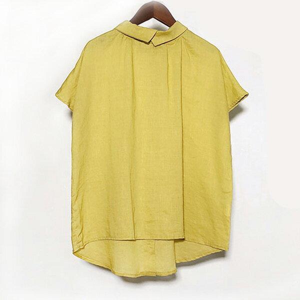 文青翻領後釦襯衫上衣中大尺碼【68-12-86087-18】ibella艾貝拉