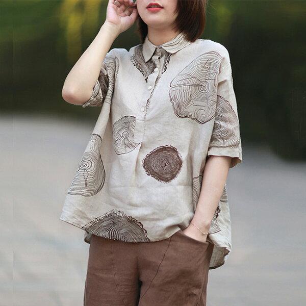年輪印花A字亞麻襯衫上衣中大尺碼【75-12-8105-18】ibella艾貝拉