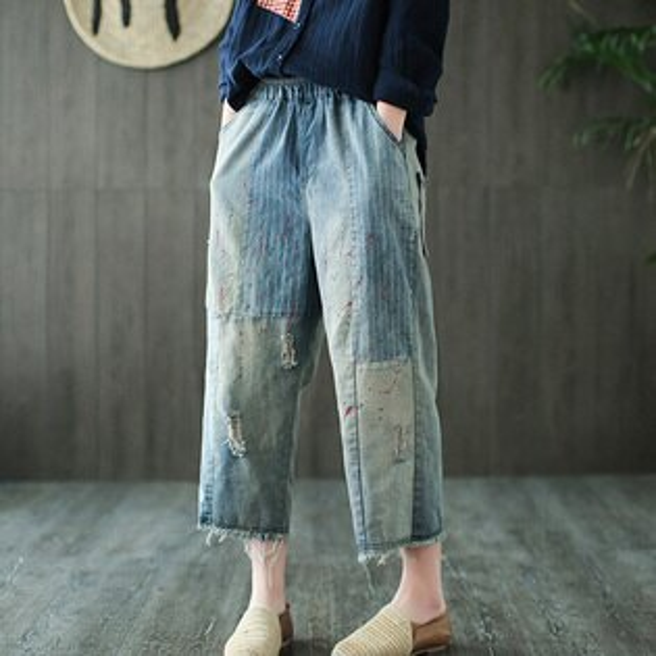 條紋拼接油漆牛仔褲寬褲韓版預購【75-17-8616-18】ibella艾貝拉