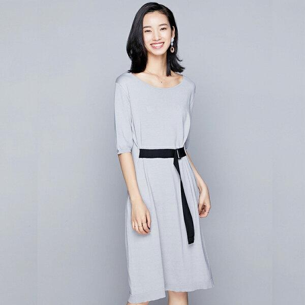 圓領繫腰帶針織連身裙洋裝針織衫預購【80-14-89320-18】ibella艾貝拉