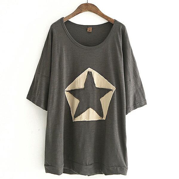 星星貼布繡上衣T恤【88-11-8117-0696-18】ibella艾貝拉
