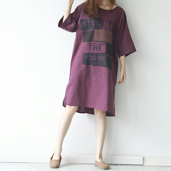 字母印花棉麻長版上衣連身裙洋裝中大尺碼【88-11-8171-0152-18】ibella艾貝拉