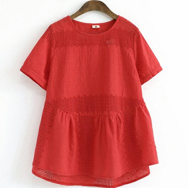 襯衫 文青刺繡鏤空襯衫上衣 ~88~12~8124~0082~ibella 艾貝拉