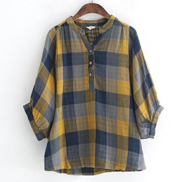 格紋半門襟襯衫上衣【88-12-8132-0277-18】ibella艾貝拉