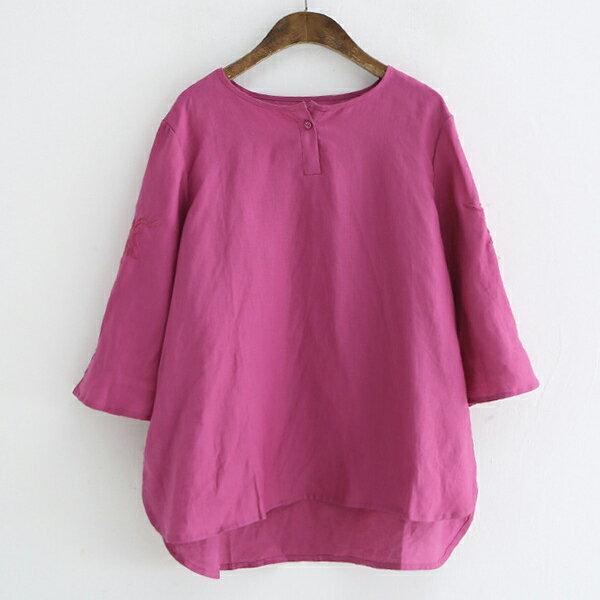 刺繡七分袖單釦襯衫上衣【88-12-8224-1120-18】ibella艾貝拉