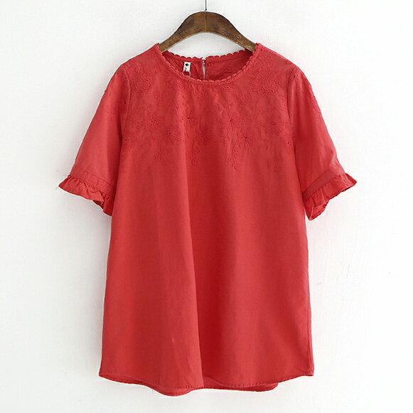 蕾絲領邊刺繡荷葉袖上衣襯衫【88-12-8248-0090-18】ibella艾貝拉