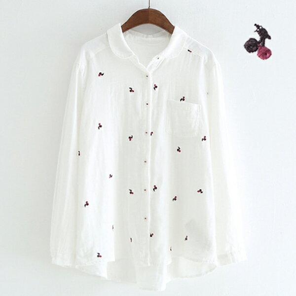 刺繡櫻桃雙層棉襯衫上衣韓版預購【88-12-8267-2151-18】ibella艾貝拉