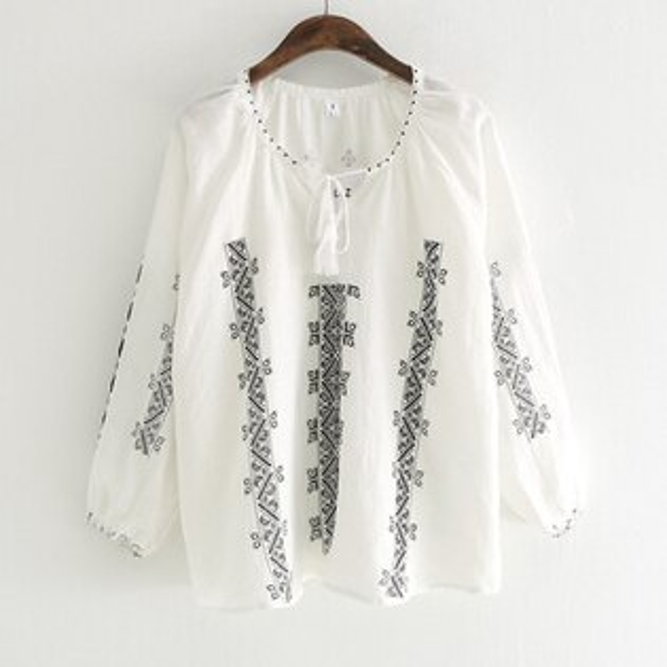黑白幾何繫帶襯衫上衣【88-12-8303-1831-18】ibella艾貝拉