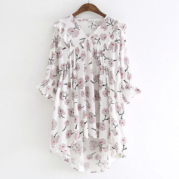 花朵印花喇叭袖上衣襯衫中大尺碼韓版預購【88-16-8224-1090-18】ibella艾貝拉