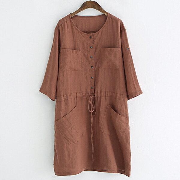 排釦貼口袋繫帶連身裙洋裝【88-16-8345-0192-18】ibella艾貝拉
