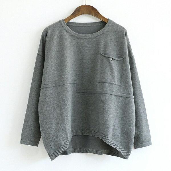 毛衣 簡約貼口袋針織衫上衣 日系 預購【88-24-8370-0086】ibella 艾貝拉