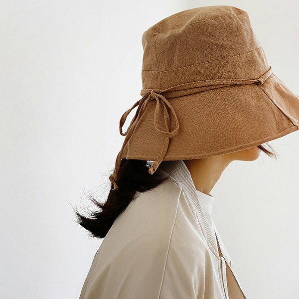 百搭棉麻蝴蝶結遮陽帽漁夫帽防曬【89-10-802-18】ibella艾貝拉