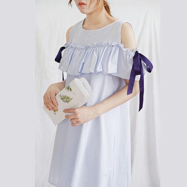 雙層波浪一字領縮腰連身裙長洋裝【89-16-8055-18】ibella艾貝拉