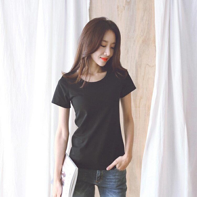 素面百搭圓領上衣T恤棉T 【91-11-81635-18】ibella 艾貝拉