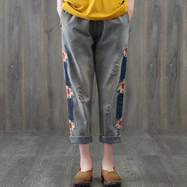 刺繡刷色抓破牛仔褲哈倫褲中大尺碼【96-27-880180601036-18】ibella艾貝拉