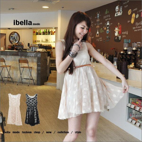 五折~韓. .大 party .蕾絲簍空縮腰洋裝 ibella mode~83~84100