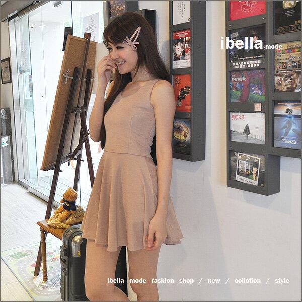五折-韓. .名媛party風.條紋光澤感下襬圓裙背心洋裝 ibella mode【83-94201206】