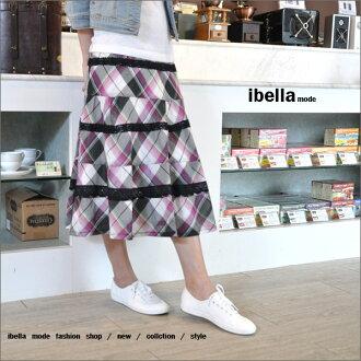 專櫃.學院風.特價.高質感純棉格紋蕾絲織帶裝飾波浪蛋糕裙 ibella mode【87-002】