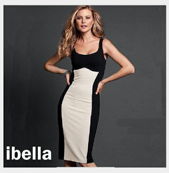 五折- 風洋裝雙色拼接窄版背心洋裝   ibella【69-9863】
