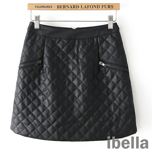 風皮裙車格紋拉 包臂短裙皮裙   ibella【70-205】