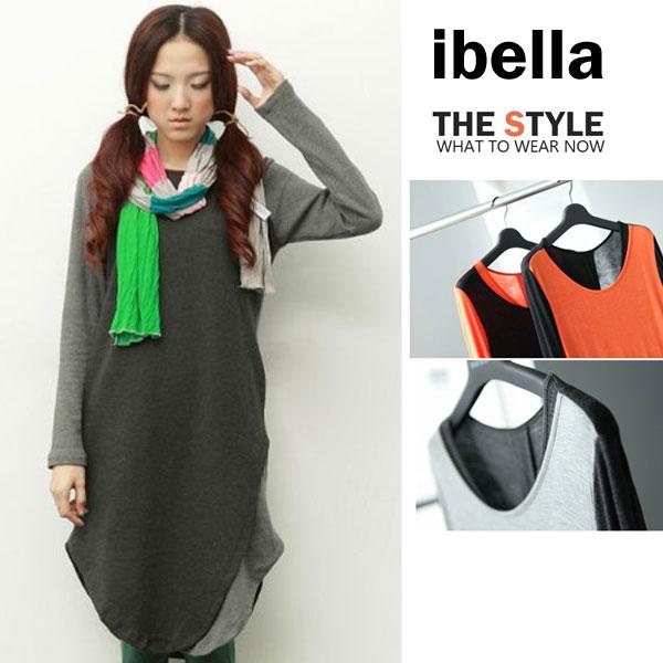 洋裝撞色拼接假二件洋裝  ibella【72-607】
