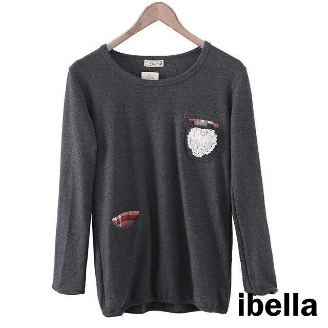 T恤 蕾絲格紋口袋厚暖上衣 外貿原單 日系 【85-001】  ibella