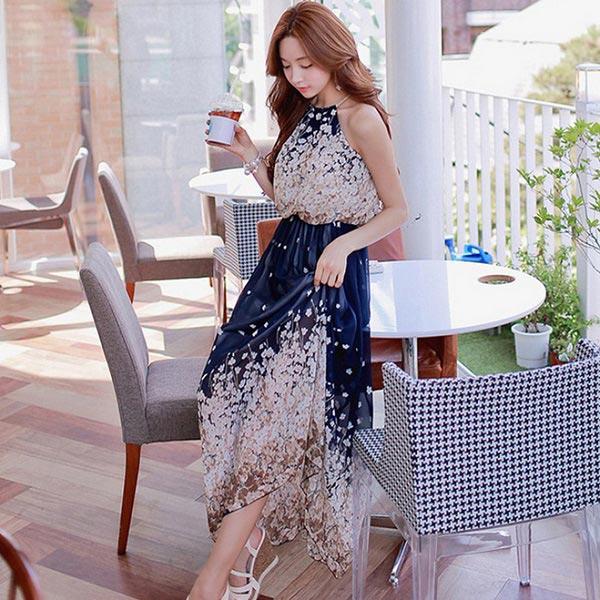 洋裝 波希米亞風雪紡印花露肩長洋裝 韓國 時尚 預購【79-86407】ibella 艾貝拉