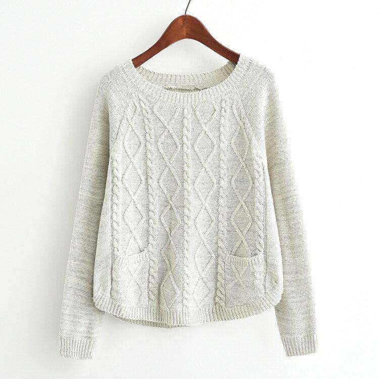 梅梅露*【55181332】麻花紋針織長袖毛衣上衣