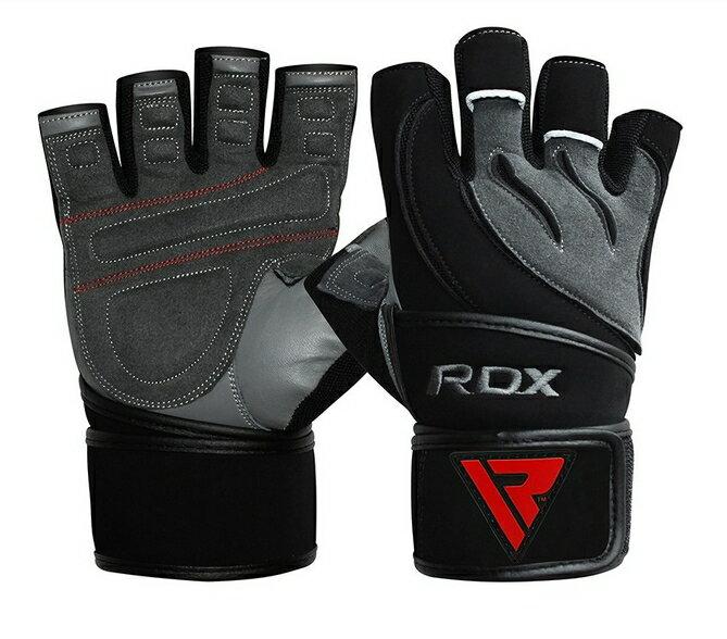 【RDX】英國 RDX男性皮革綁帶式健身手套 (黑灰) - 限時優惠好康折扣