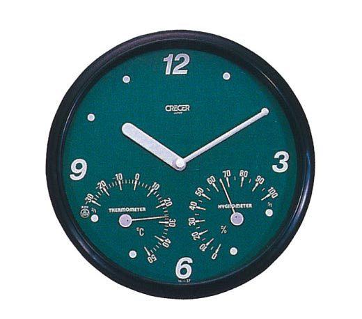 CRECER日本溫‧溼度計(直徑26cm附時鐘)TC-016