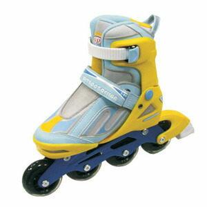 成功 鋁合金伸縮溜冰鞋組-藍黃色(休閒教學專用)直排輪/健身運動(S0420)