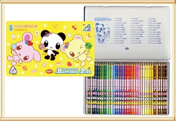 利百代 CC~075 可愛家族抗菌三角色鉛筆36色 外盒顏色隋機出貨    盒