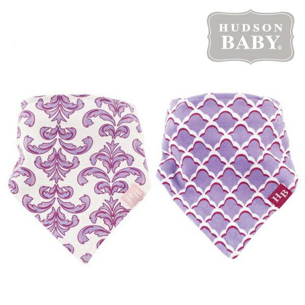 美國 Hudson Baby / Luvable Friends 嬰幼用品 領巾造型圍兜 口水巾 (兩件組) - 紫色花紋