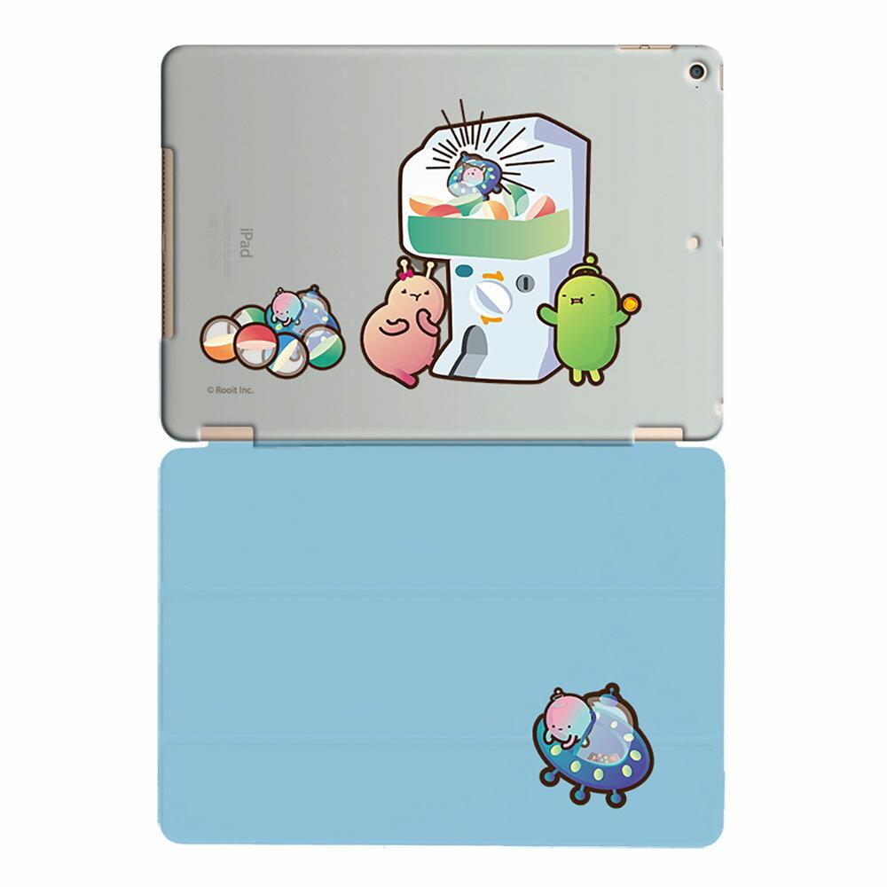 新創設計師系列【扭蛋機(藍)】《 iPad Mini/Air/Pro 》水晶殼+Smart Cover(磁桿)沒個性星人Roo