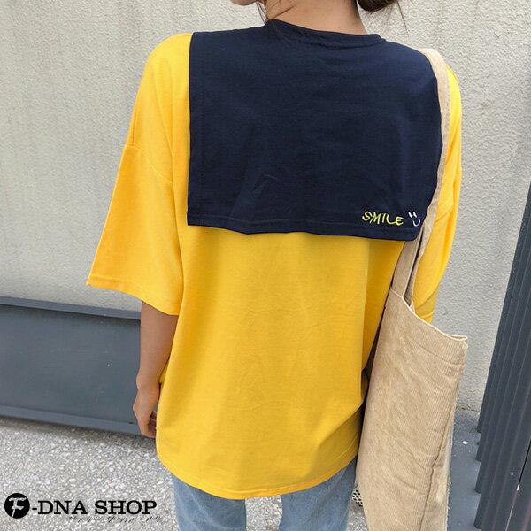 F-DNA★刺繡微笑可拆兩件式披肩圓領短袖上衣T恤(2色-M-2XL)【ET12690】 5