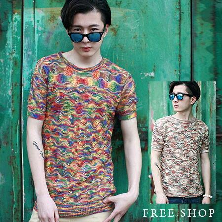 Free Shop~QTJT38~日韓風格混色透氣涼感 針織衫圓領短T短袖上衣潮T.二色
