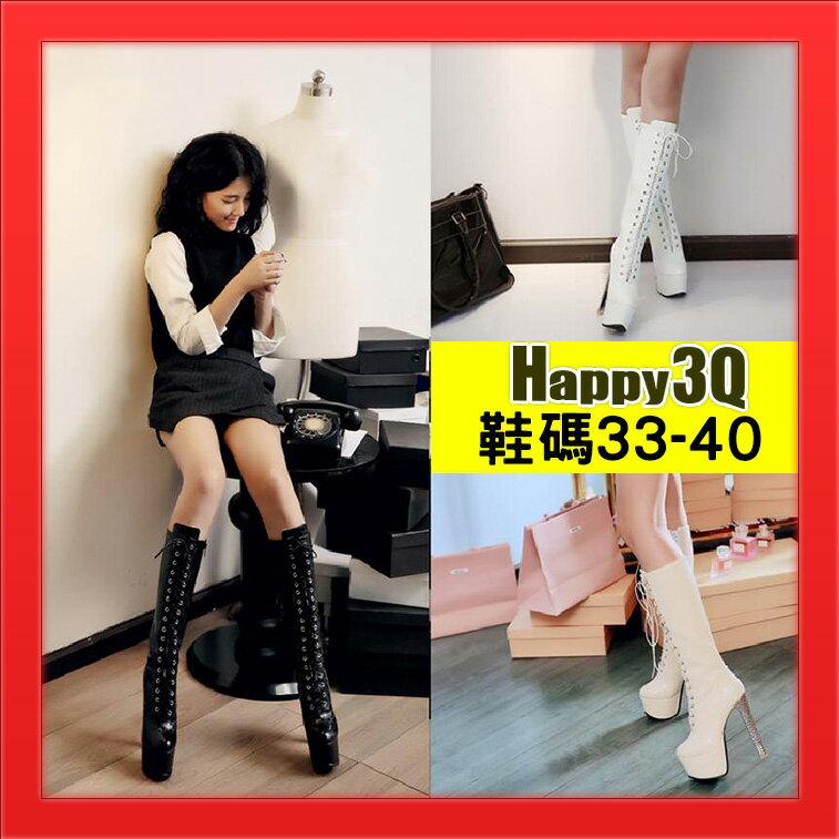 高跟細跟長靴過膝靴SHOW GIRL車展模特兒工作靴長靴百搭綁帶靴~杏  白  黑33~4